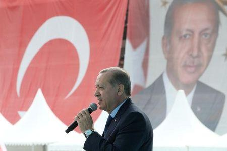 Turkish President Erdogan delivers a speech during a ceremony in Bursa