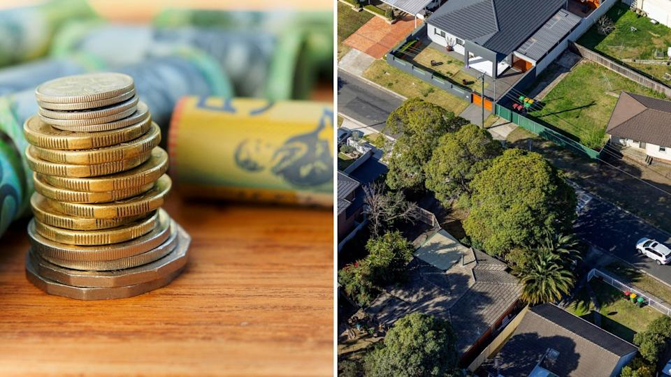 Close up image of stacked Australian coins, Australian cash and aerial view of Australian houses
