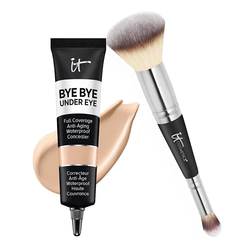 <p>Brighten up your under eye area with the <span>IT Cosmetics Supersize Bye Bye Under Eye Concealer Set </span> ($45, originally $90). The concealer contains collagen, hyaluronic acid, and antioxidants for that radiant, plump look. It comes with the Heavenly Luxe Complexion Perfection Concealer Brush. </p>
