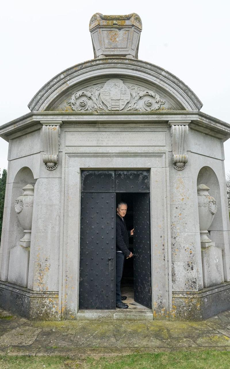 Henry Lytton Cobbold, Bulwer-Lytton's great-great-great grandson, at the mausoleum at Knebworth Park - Credit: Robert James Ryder