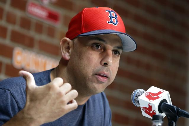 Boston Red Sox manager Alex Cora talks about the dismissal of president of baseball operations Dave Dombrowski, during a news conference before a baseball game against the New York Yankees in Boston, Monday, Sept. 9, 2019. (AP Photo/Michael Dwyer)