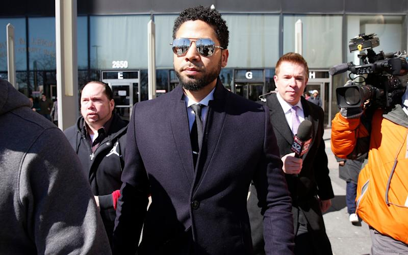 Jussie Smollett outside court after charges were dropped - Getty Images North America
