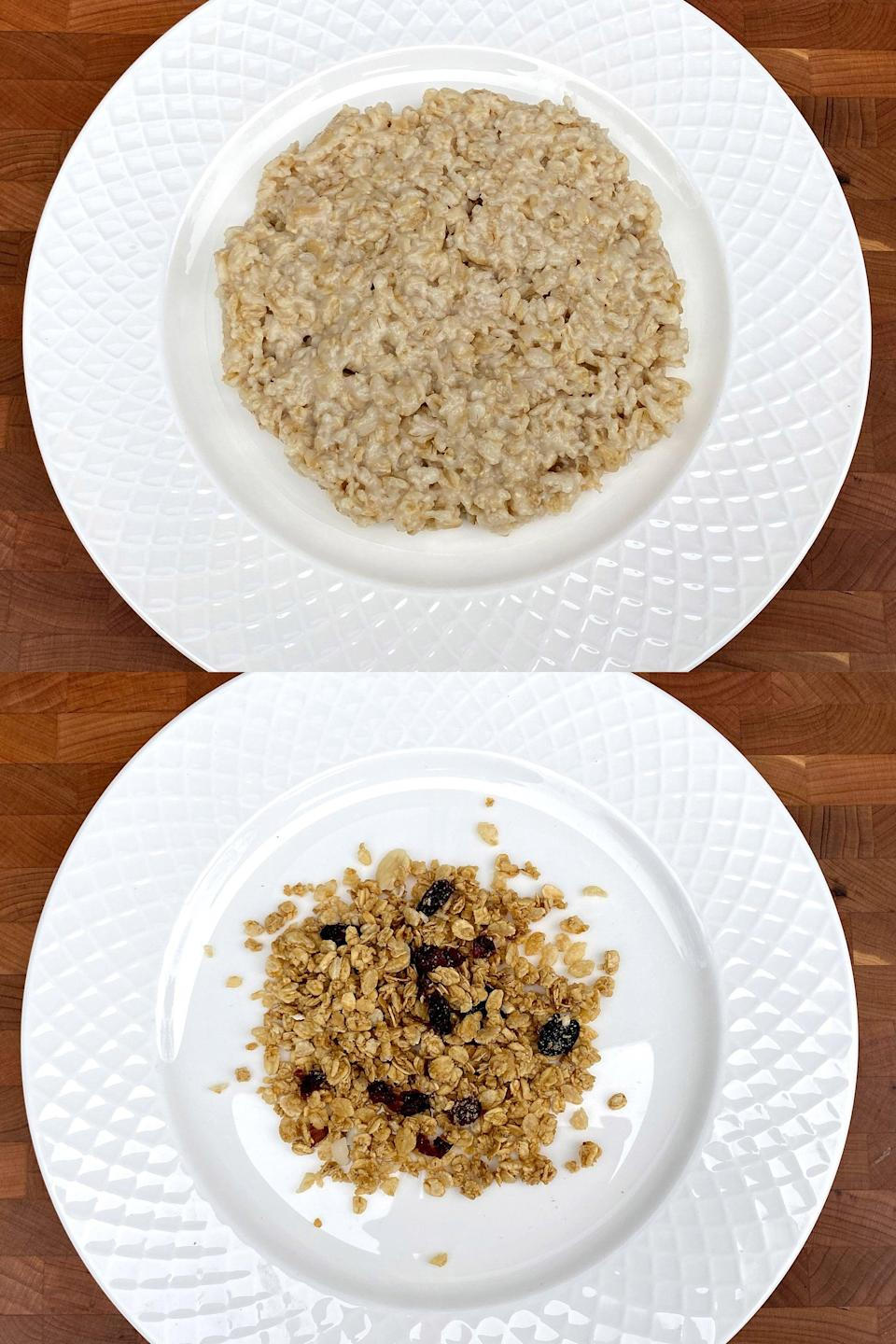 <p>You can spoon into 1 1/2 cups of cooked oatmeal or just 2/5 cup of fruit and nut granola, and that doesn't even include the cup of milk you'll add to it. That's such a small amount! I'd much rather fill up on the oatmeal flavored with some fruit.</p>