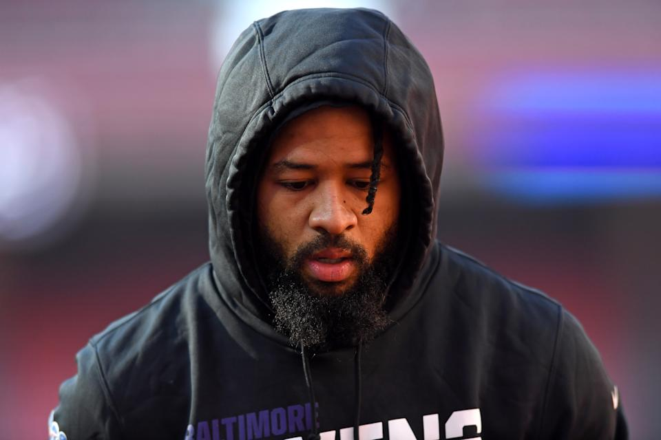 CLEVELAND, OH - DECEMBER 22, 2019: Free safety Earl Thomas #29 of the Baltimore Ravens on the field prior to a game against the Cleveland Browns on December 22, 2019 at FirstEnergy Stadium in Cleveland, Ohio. Baltimore won 31-15. (Photo by: 2019 Nick Cammett/Diamond Images via Getty Images)