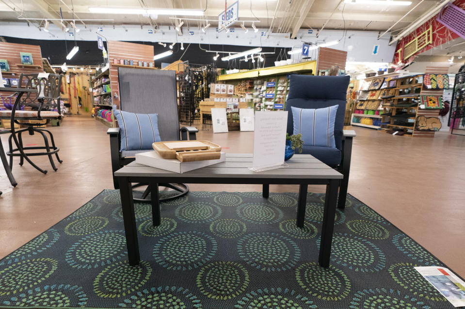In this July 6, 2021, photo Patio furniture is seen on display at Valley View Farms in Cockeysville, Md.. (AP Photo/Julio Cortez)
