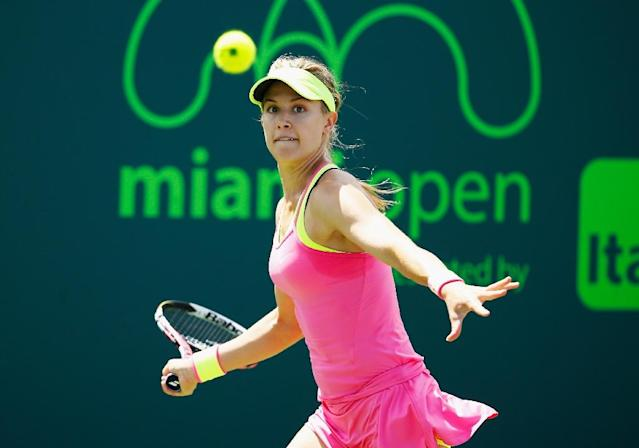 Eugenie Bouchard of Canada returns the ball to Tatjana Maria of Germany during day 6 of the Miami Open on March 28, 2015 in Key Biscayne, Florida (AFP Photo/Al Bello)