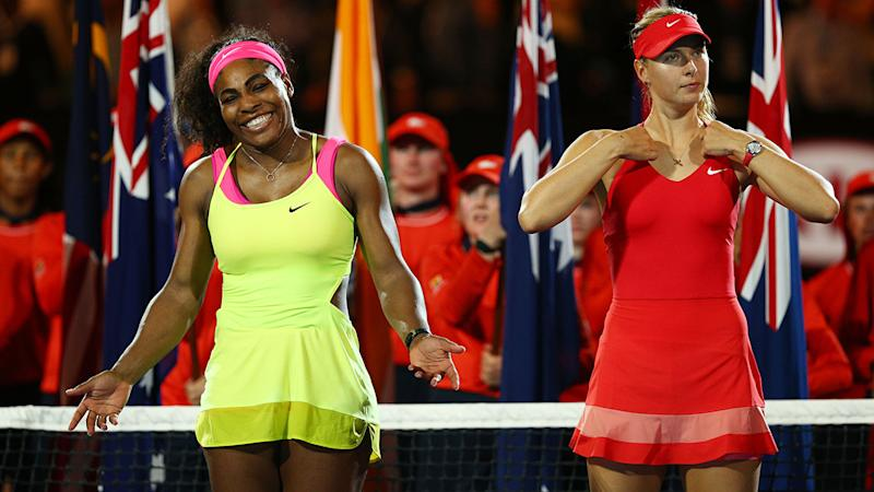 Serena Williams and Maria Sharapova, pictured here at the Australian Open in 2015.