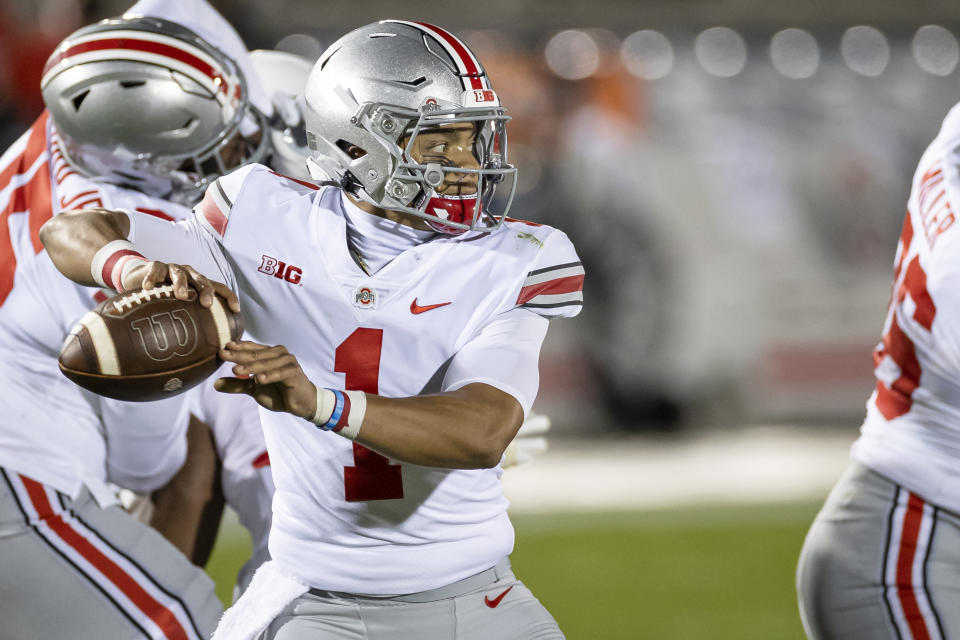 Ohio State's Justin Fields looks to pass against Penn State on Oct. 31, 2020. (Scott Taetsch/Getty Images)
