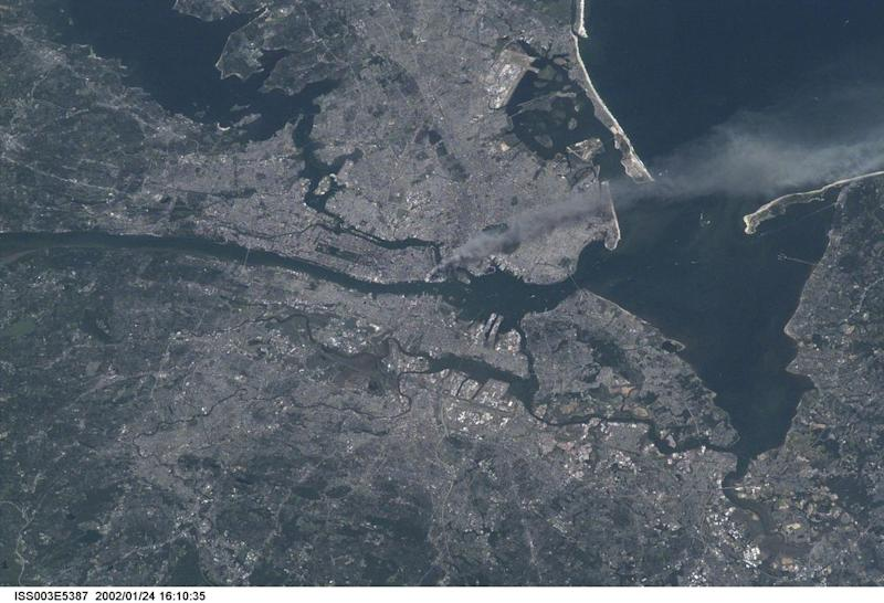A photo of New York City taken by one of the Expedition Three crew members on the International Space Station (ISS) September 11, 2001.