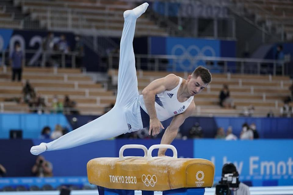 Max Whitlock of Britain on the pommel horse.