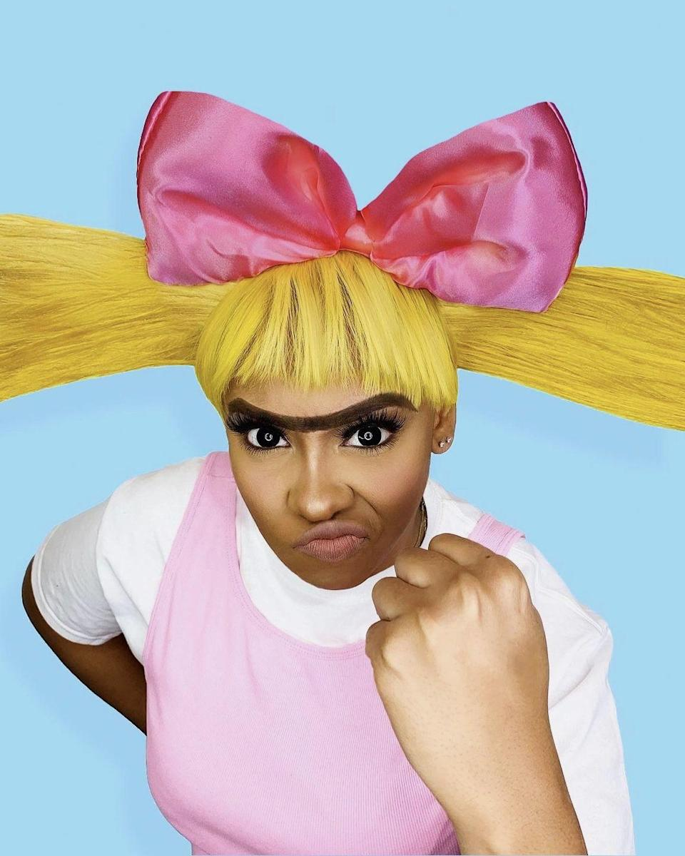 """<p>Even if you're celebrating Halloween solo, you can still wear a satin pink bow, stick-straight yellow hair, and unibrow like Arnold's arch rival-turned-girlfriend. Practice saying """"Move it football head!"""" to get into character.</p><p><a class=""""link rapid-noclick-resp"""" href=""""https://www.amazon.com/Luwigs-Synthetic-Straight-Resistant-22inches/dp/B07ZSWMSRR/r?tag=syn-yahoo-20&ascsubtag=%5Bartid%7C10055.g.2750%5Bsrc%7Cyahoo-us"""" rel=""""nofollow noopener"""" target=""""_blank"""" data-ylk=""""slk:SHOP YELLOW WIGS"""">SHOP YELLOW WIGS</a></p><p><em><a href=""""https://www.cookiecorp.net/cosplay?pgid=k4qpk4dn-9d4828c3-3c3a-417d-89ac-5d22387ec1ad"""" rel=""""nofollow noopener"""" target=""""_blank"""" data-ylk=""""slk:Get the tutorial at Cookie Corp. »"""" class=""""link rapid-noclick-resp"""">Get the tutorial at Cookie Corp. »</a></em></p>"""