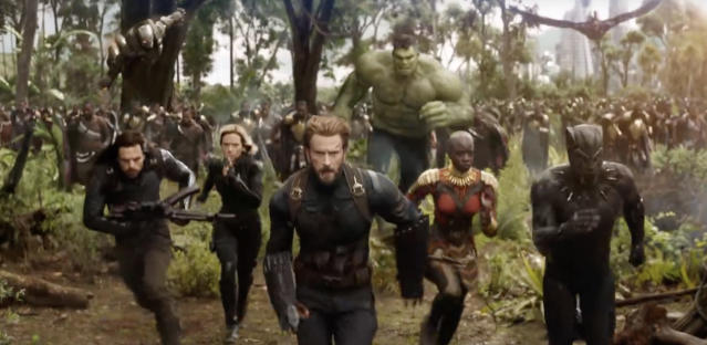 Cap, Bucky, Black Widow, War Machine, Hulk, Falcon, Okoye, and Black Panther lead Wakanda on the attack. (Photo: Marvel Studios)