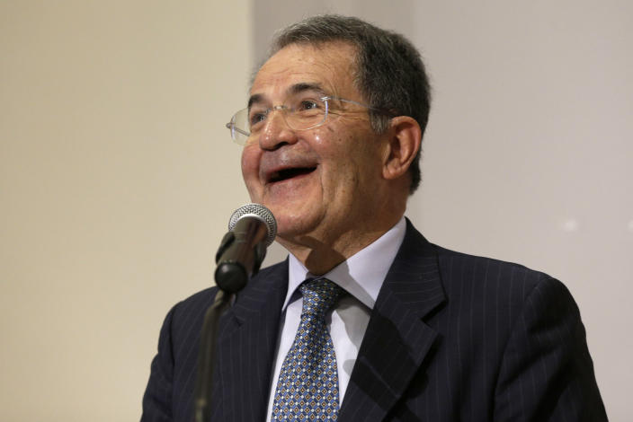 In this photo taken on April 16, 2013 Romano Prodi smiles as he gives a Lectio-Magistralis at the Pontificia Universita' Angelicum in Rome. Italy's Parliament has opened a third round of voting for the nation's president after two inconclusive votes a day earlier. In a bid to change the dynamic during Friday's voting, the center-left leader proposed former Premier Romano Prodi for the post. However, Silvio Berlusconi's center-right has already signaled its opposition to the man who twice beat Berlusconi in national elections. (AP Photo/Alessandra Tarantino)