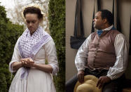 Mary Carter portrays Aggy of Turkey Island on Feb. 27, 2019, left, and Stephen Seals portrays James Armistead Lafayette on Sept 19, 2017, at Colonial Williamsburg, an immersive living-history museum in Williamsburg, Virginia, where costumed interpreters of history reenact scenes and portray figures from that period. (Tom Green, left, and Darnell Vennie/Colonial Williamsburg via AP)