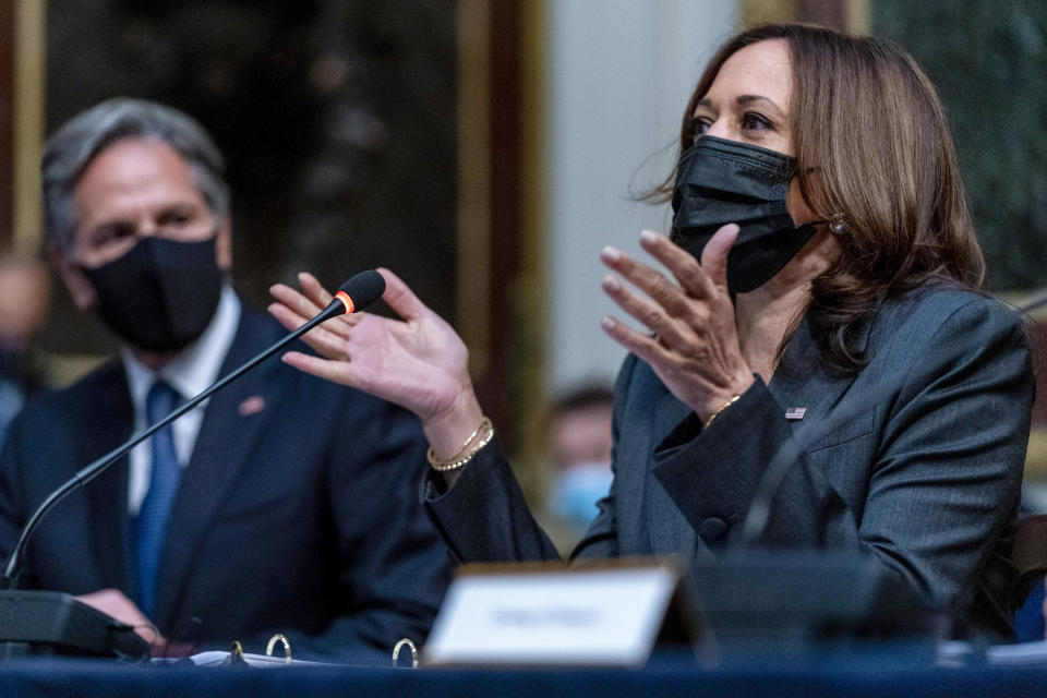 Vice President Kamala Harris, accompanied by Secretary of State Antony Blinken, left, speaks at a U.S.-Mexico High Level Economic Dialogue meeting in the Indian Treaty Room in the Eisenhower Executive Office Building on the White House Campus in Washington, Thursday, Sept. 9, 2021. (AP Photo/Andrew Harnik)