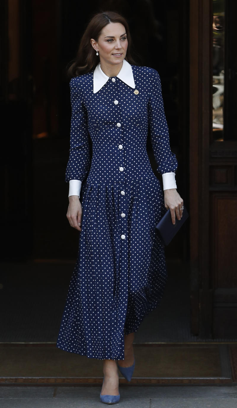Kate has previously worn Alessandra Rich's polka-dot number, seen last May. (Photo: Getty Images)