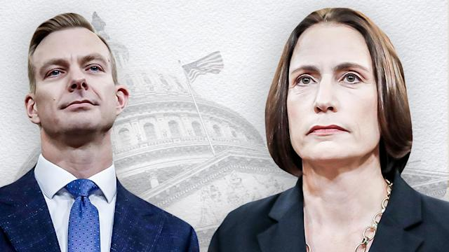 David Holmes, political counselor at the U.S. Embassy in Kiev, and Fiona Hill, the NSC's former senior director for Europe and Russia. (Yahoo News photo illustration; photos: AP, Getty Images)