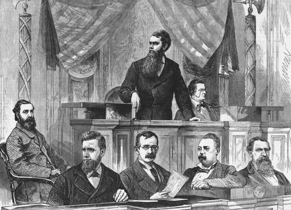 During an assembly at the Senate, Mr. Ferry, the Senate President, announces the results of the election between Rutherford B. Hayes and Samuel J. Tilden. The final vote which declared Hayes the new President by one electoral vote (Hayes-185, Tilden-184), could not be announced until four o'clock the morning of March 2.