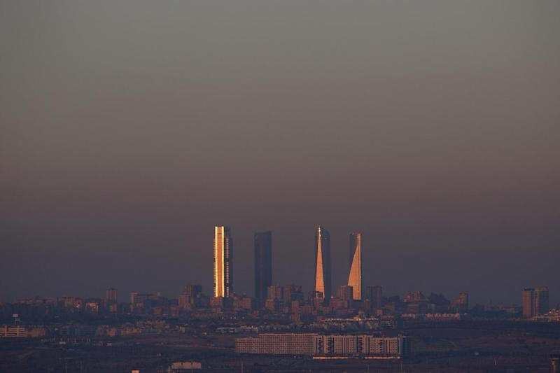 The UK had worse pollution levels than Spain, pictured - pollution over Madrid (Getty Images)