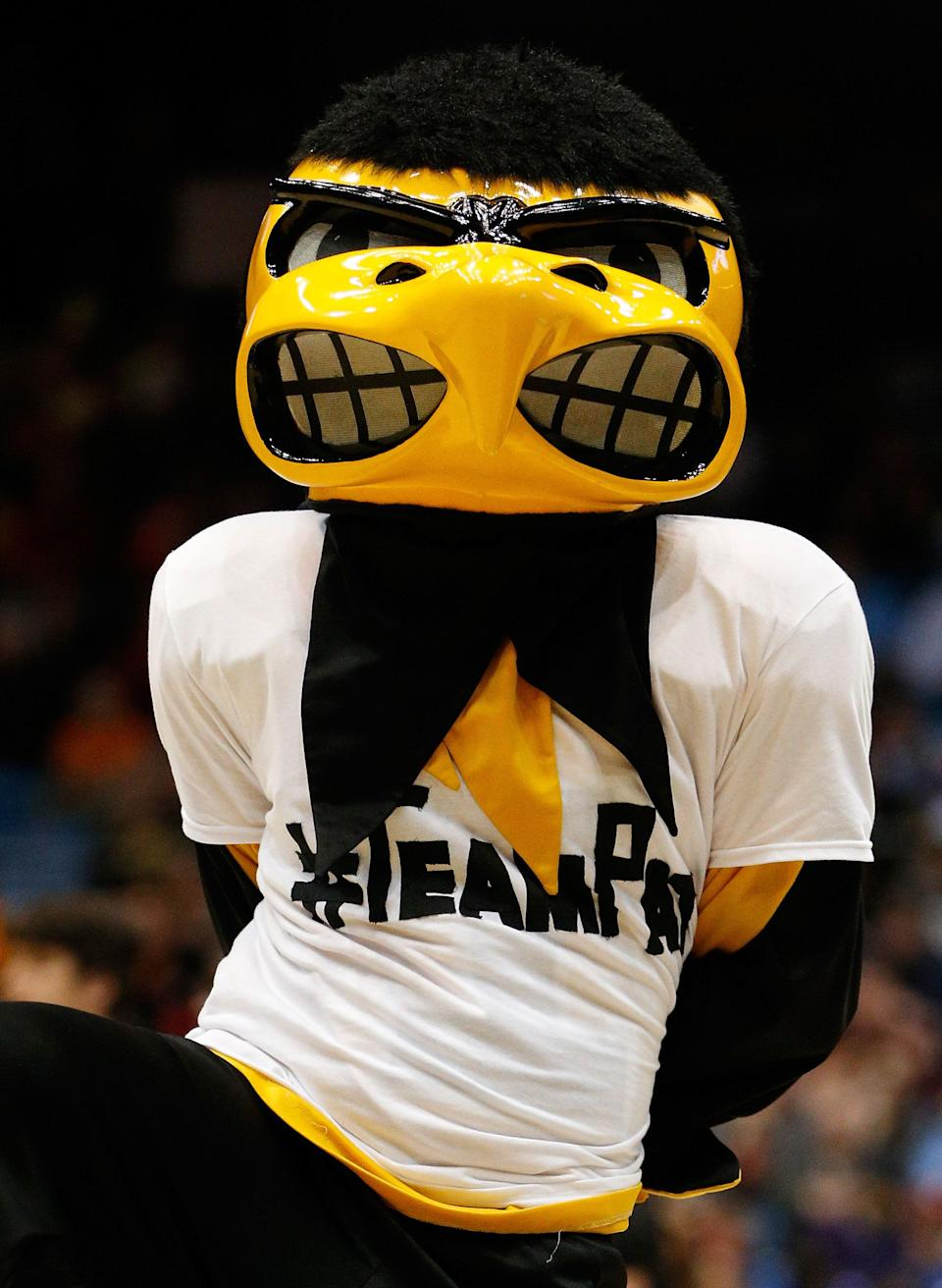 DAYTON, OH - MARCH 19:  The Iowa Hawkeyes mascot, Herky, performs during the first round of the 2014 NCAA Men's Basketball Tournament against the Tennessee Volunteers at UD Arena on March 19, 2014 in Dayton, Ohio.  (Photo by Gregory Shamus/Getty Images)