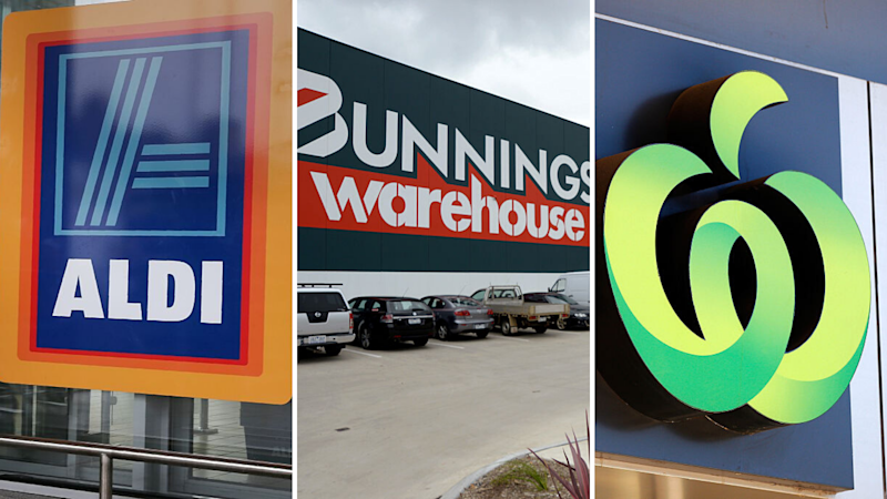 Pictured: Aldi logo, Bunnings Warehouse logo, Woolworths supermarket logo. Images: Getty