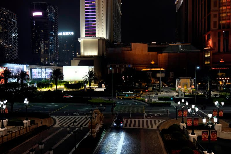 FILE PHOTO: A general view shows casinos and hotels following the coronavirus outbreak in Macau