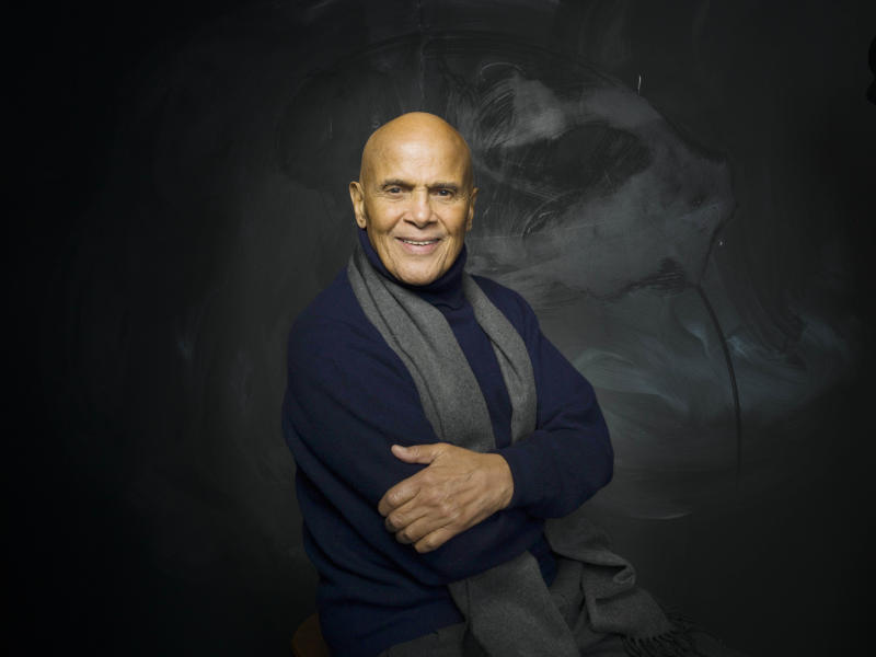 "FILE - In this Jan. 21, 2011 file photo, actor, singer and activist Harry Belafonte from the documentary film ""Sing Your Song,"" poses for a portrait in the Fender Music Lodge during the 2011 Sundance Film Festival in Park City, Utah.  Belafonte's film premieres Monday, Oct. 17, at 10 p.m. EDT on HBO. (AP Photo/Victoria Will, file)"