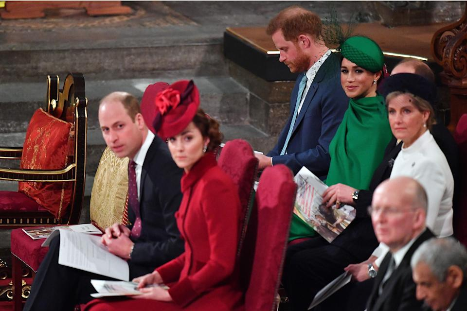 The Cambridges and Sussexes in their seats atCommonwealth Day services. (Photo: PHIL HARRIS via Getty Images)