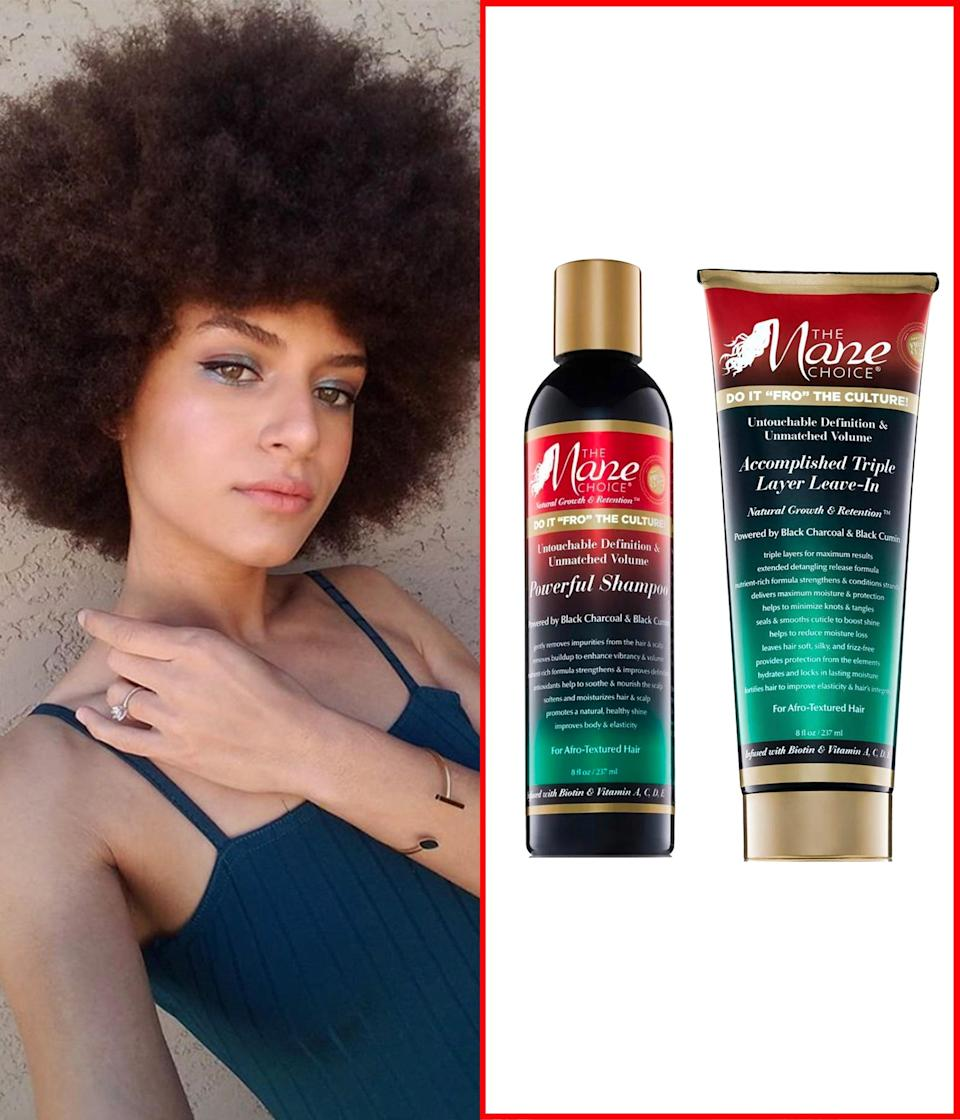 """I mostly use a moisturizing shampoo, but will use a cleansing shampoo like the <a href=""""https://www.amazon.com/Untouchable-Definition-Unmatched-Powerful-Milliliters/dp/B07JQMCJNB?ots=1&slotNum=0&imprToken=cebaab7a-2147-4175-378&tag=glamour0d7-20&linkCode=w50"""" rel=""""nofollow noopener"""" target=""""_blank"""" data-ylk=""""slk:Mane Choice Do It """"Fro"""" The Culture Powerful Shampoo"""" class=""""link rapid-noclick-resp"""">Mane Choice Do It """"Fro"""" The Culture Powerful Shampoo</a> once a month to clean my scalp thoroughly. I like to focus more on my scalp with the shampoo, and then as it foams up, I let it do its thing for the rest of my hair. After rinsing it out, I apply a <a href=""""https://amzn.to/2HwzJJk"""" rel=""""nofollow noopener"""" target=""""_blank"""" data-ylk=""""slk:deep conditioner"""" class=""""link rapid-noclick-resp"""">deep conditioner</a> to my sectioned hair, put on a plastic bag, and then put my <a href=""""https://www.thermalhaircare.com/?gclid=CjwKCAjwx9_4BRAHEiwApAt0zl9_2OZERbrWW0Twz7qX38yf0J9P3dm8S9u-kYqDdMY4mhxwHBzJqBoCXVAQAvD_BwE"""" rel=""""nofollow noopener"""" target=""""_blank"""" data-ylk=""""slk:Hot Head microwavable deep-conditioning cap"""" class=""""link rapid-noclick-resp"""">Hot Head microwavable deep-conditioning cap</a> on for 30 minutes to an hour. I detangle with deep conditioner to avoid pulling and breakage. After washing that out, I apply a <a href=""""https://amzn.to/3otsIKj"""" rel=""""nofollow noopener"""" target=""""_blank"""" data-ylk=""""slk:leave-in conditioner"""" class=""""link rapid-noclick-resp"""">leave-in conditioner</a>, sometimes a little oil, and let my hair air-dry as an Afro. <em>—</em><a href=""""https://www.youtube.com/channel/UC12LklzNz7Mr91GqriZ_ciA"""" rel=""""nofollow noopener"""" target=""""_blank"""" data-ylk=""""slk:Sharmaine Joy-el"""" class=""""link rapid-noclick-resp""""><em>Sharmaine Joy-el</em></a><em>, beauty blogger</em> $14, Amazon. <a href=""""https://www.amazon.com/Untouchable-Definition-Unmatched-Powerful-Milliliters/dp/B07JQMCJNB"""" rel=""""nofollow noopener"""" target=""""_blank"""" data-ylk=""""slk:Get it now!"""" class=""""link rapid-noclick-resp"""">G"""