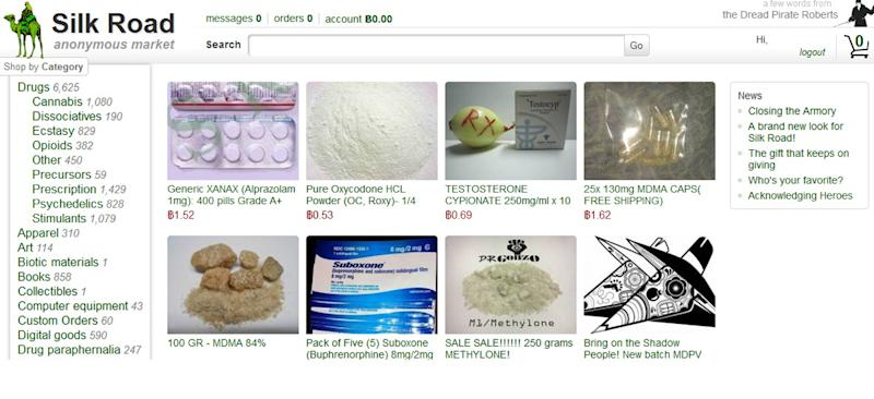 This frame grab from the Silk Road website shows thumbnails for products allegedly available through the site. On Tuesday, Oct. 1, 2013, FBI agents arrested Ross William Ulbricht, who is accused of operating the secret website, which is believed to have brokered more than $1 billion in transactions for illegal drugs and services. (AP Photo/silkroaddrugs.org)