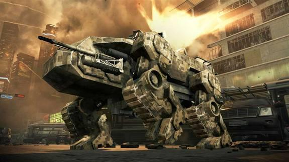 A walking military robot carries a gun turret in the upcoming Call of Duty game.