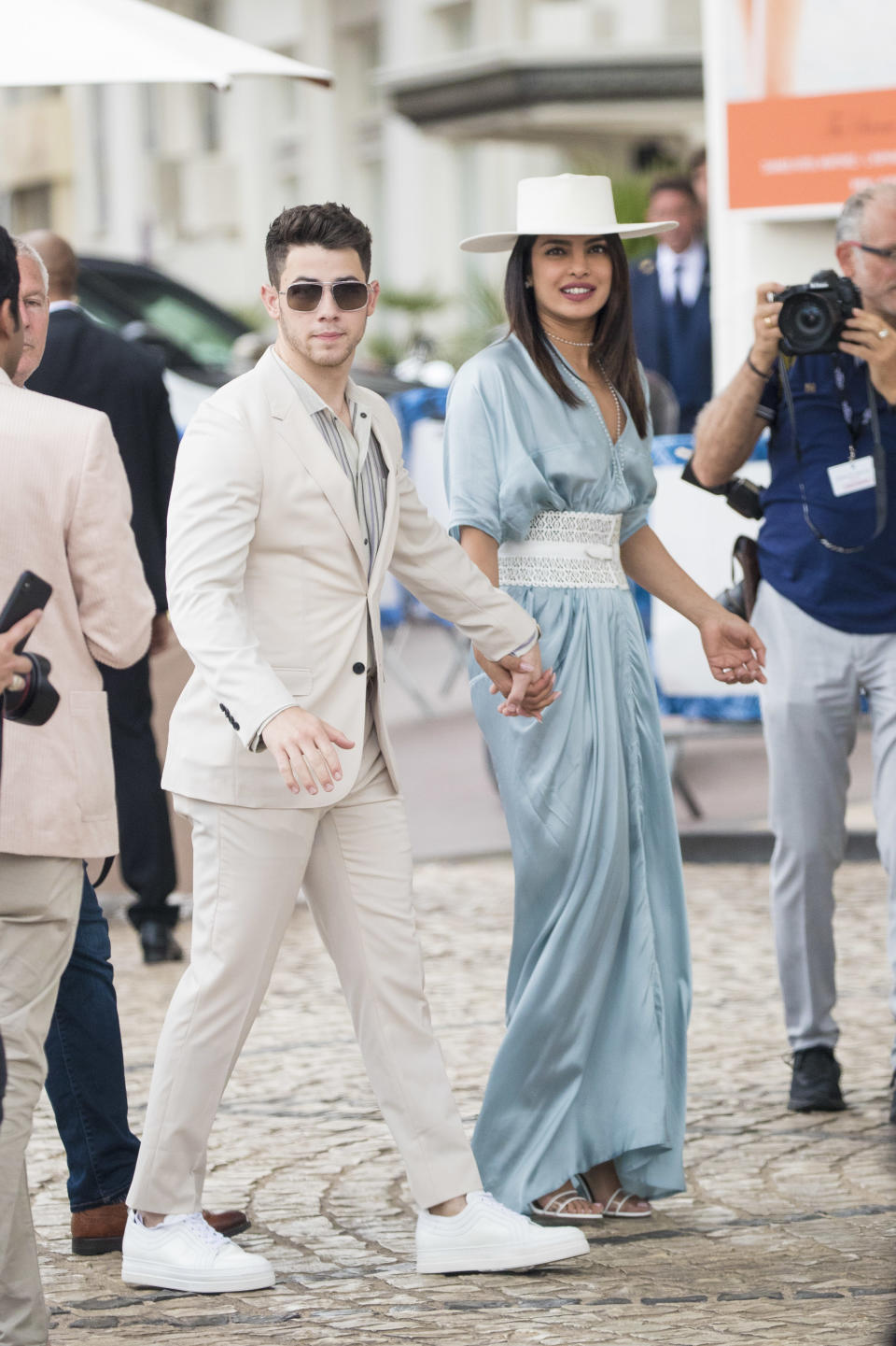 CANNES, FRANCE - MAY 17: Joe Jonas and Priyanka Chopra are seen during the 72nd annual Cannes Film Festival on May 17, 2019 in Cannes, France. (Photo by Iconic/GC Images)