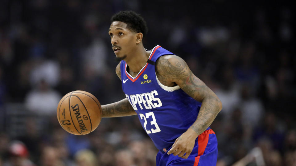 Los Angeles Clippers' Lou Williams (23) during an NBA basketball game against the New York Knicks Saturday, Jan. 4, 2020, in Los Angeles. (AP Photo/Marcio Jose Sanchez)