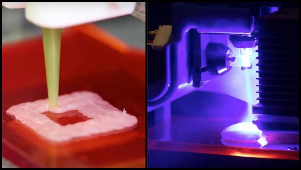 A 3D-printing machine extrudes pureed chicken onto a surface. The chicken is then cooked by lasers.