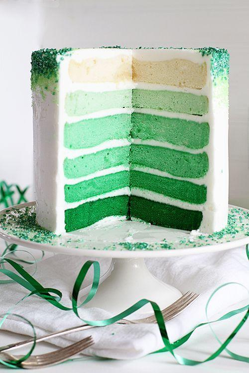 "<p>This ombré layer cake, which deepens from cream to mint to emerald, beats out any rainbow treats — hands down.</p><p><a href=""http://iambaker.net/green-ombre-cake/"" rel=""nofollow noopener"" target=""_blank"" data-ylk=""slk:Get the recipe from I Am Baker »"" class=""link rapid-noclick-resp""><em>Get the recipe from I Am Baker »</em></a></p>"