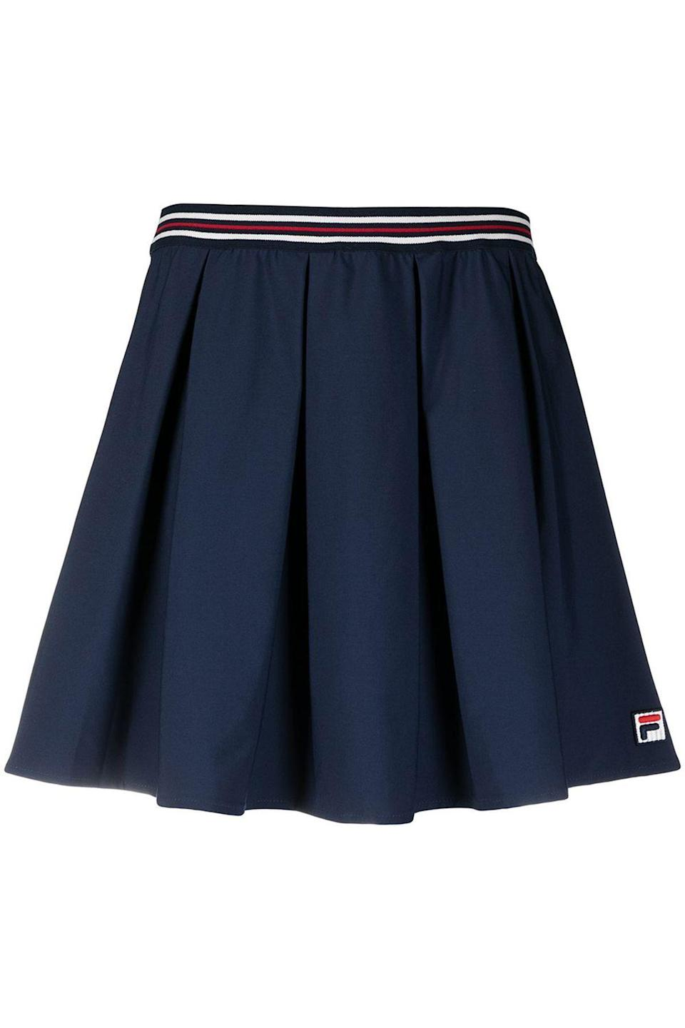 """<p><strong>Fila</strong></p><p>farfetch.com</p><p><strong>$83.00</strong></p><p><a href=""""https://go.redirectingat.com?id=74968X1596630&url=https%3A%2F%2Fwww.farfetch.com%2Fit%2Fshopping%2Fwomen%2Ffila-gonna-svasata-item-16346339.aspx&sref=https%3A%2F%2Fwww.townandcountrymag.com%2Fstyle%2Ffashion-trends%2Fg36717600%2Fbest-tennis-skirts%2F"""" rel=""""nofollow noopener"""" target=""""_blank"""" data-ylk=""""slk:Shop Now"""" class=""""link rapid-noclick-resp"""">Shop Now</a></p><p>At a more modest (read: work-appropriate) skirt length, Fila's A-line skirt is a sporty summer staple suitable for all occasions.</p>"""