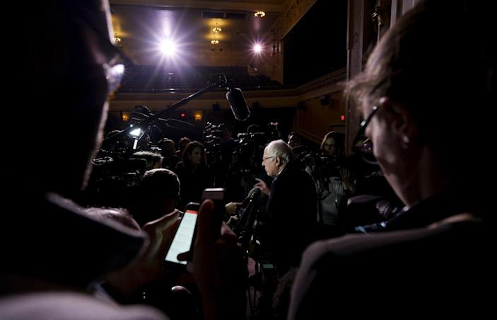 <p>Bernie Sanders speaks to the press after a campaign rally in Keene, N.H., Feb. 2, 2016. <i>(Photo: Rick Wilking/Reuters)</i></p>