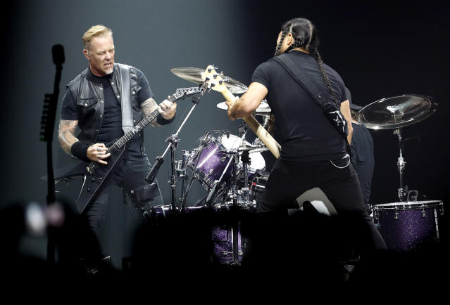 <p>Metallica have never won in this category, despite being a multiplatinum act since before the category was introduced in 1994. That should change this year with a win for <i>Hardwired…to Self-Destruct</i>. (Photo: Francois Guillot/AFP/Getty Images) </p>