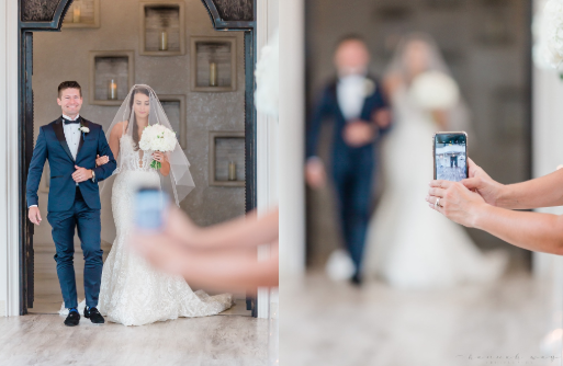 A wedding photographer called out a guest for blocking a shot with her iPhone (Credit: Facebook)