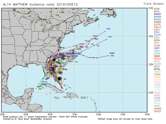 "Hurricane Matthew ""spaghetti plot"" showing different forecast tracks from computer model runs on Oct. 5, 2016."
