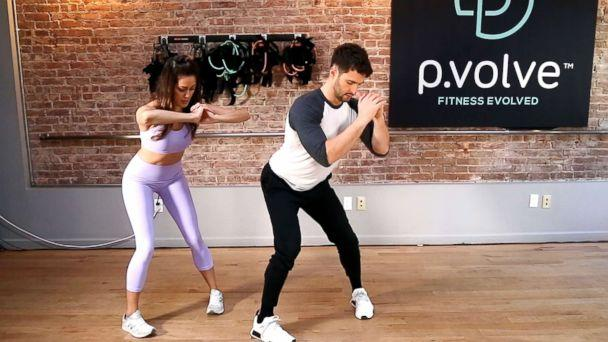 PHOTO: P.Volve's Stephen Pasterino demonstrates the Victoria's Secret model's workout. (ABC News)