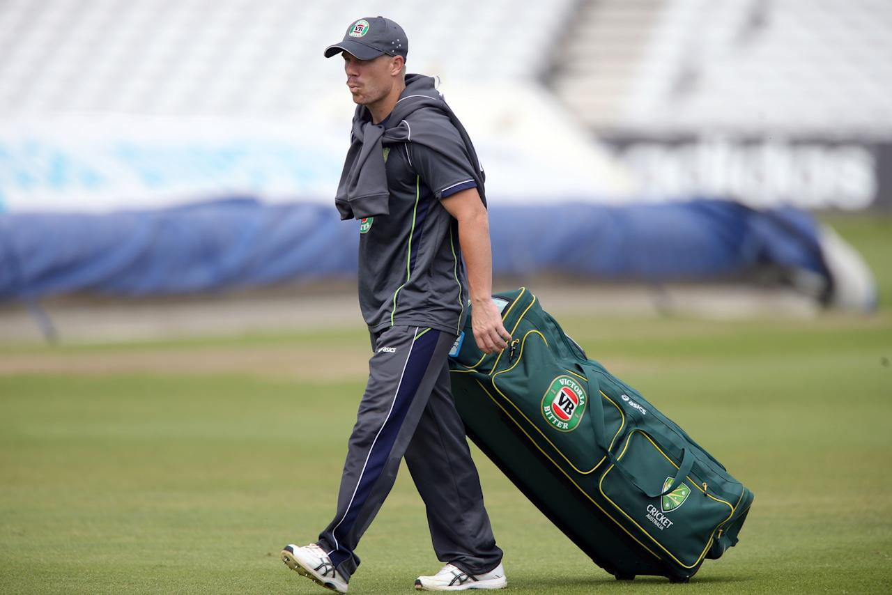 Australia batsman David Warner during the nets session at Trent Bridge, Nottingham.