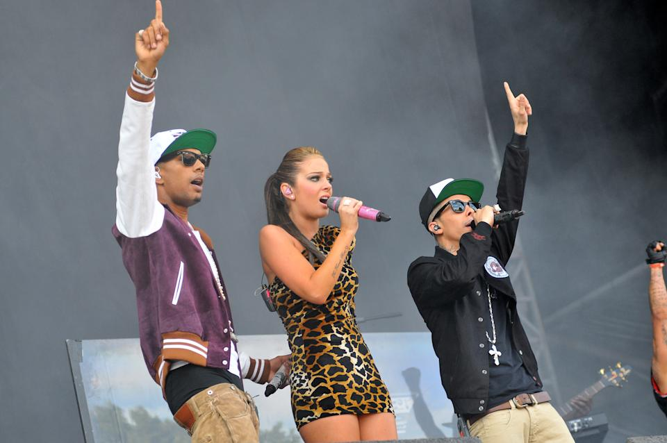 Dappy (right) was the frontman of N-Dubz, appearing alongside Fazer (left) and his cousin Tulisa Contostavlos (centre). (C Brandon/Redferns)
