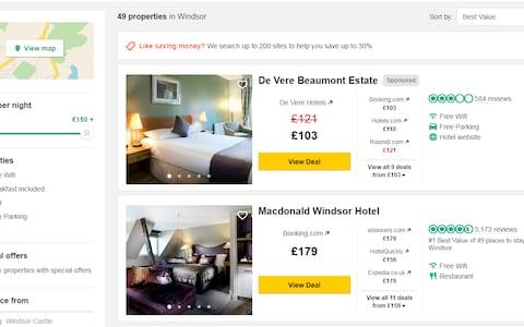 A screen shot of the Trip Advisor website offering hotels at a discounted rate - Credit: Trip Advisor