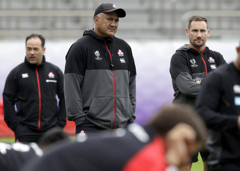 Japan coach Jamie Joseph watches his players train in Tokyo, Japan, Thursday, Oct. 17, 2019. Japan play South Africa in a Rugby World Cup quarterfinal on Sunday Oct. 20. (AP Photo/Mark Baker)