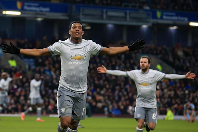 Anthony Martial celebrates the only goal of Manchester United's 1-0 win over Burnley. (Getty)