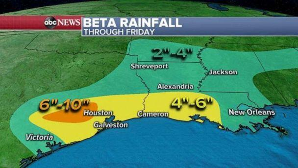 PHOTO: Heavy rain is also expected in Louisiana where some areas could see a half a foot of rain. (ABC News)