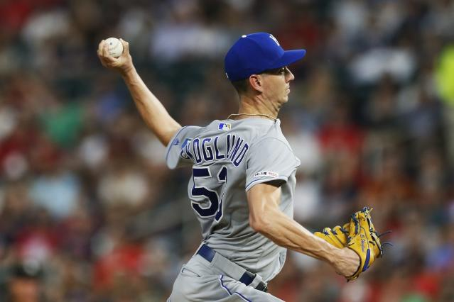 Kansas City Royals pitcher Eric Skoglund throws against the Minnesota Twins in the first inning of a baseball game Friday, Sept. 20, 2019, in Minneapolis. (AP Photo/Jim Mone)