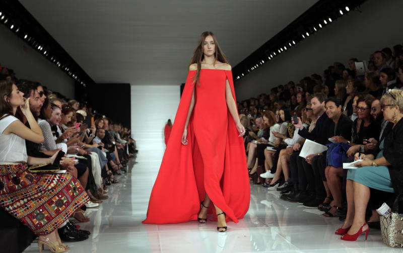 The Ralph Lauren Spring 2014 collection is modeled during Fashion Week in New York, Thursday, Sept. 12, 2013. (AP Photo/Richard Drew)