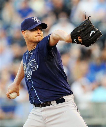 Tampa Bay Rays starting pitcher Alex Cobb (53) throws during the first inning of a baseball game against the Kansas City Royals at Kauffman Stadium in Kansas City, Mo., Tuesday, April 30, 2013. (AP Photo/Colin E. Braley)